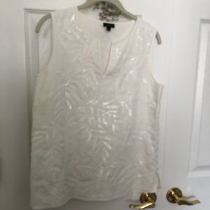 Talbots Womens SEQUIN White Blouse 6 Top B1-1594